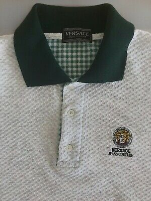 22e7e333 Vintage VERSACE Jeans Couture Polo Shirt Medusa Head Logo Size L/XL Gray  Green