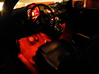 Fiat 500 Abarth 1.2 Lounge Twin Air Interior Ambient Footwell LED Lighting Kit
