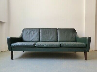 Mid-century Danish green leather 3 seater sofa 1960s - reupholstery available