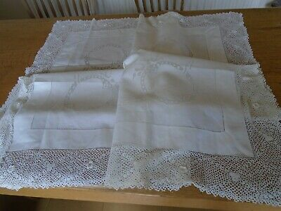 Vintage Embroidered Irish Linen Tablecloth - Stunning Irish Hand Crochet Cotton
