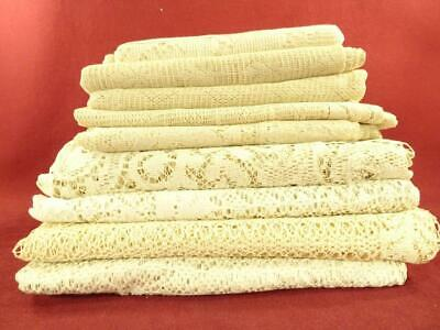 Antique Vintage Lace Curtain Lot 10 Long Panels Salvage Cutters Cottage Chic