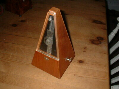 Vintage Maezel Wooden Cased Metronome Perspex Window Working Fine