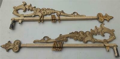 Antique Ornate Victorian Cast Iron Swing Arm Adjustable Curtain Rod Pair L&R