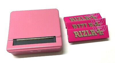 PINK AUTOMATIC ROLLING MACHINE STRONG METAL CIGARETTE TIN with 3 x RIZLA PAPERS