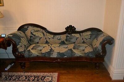 Early Victorian Mahogany Scroll End Sofa Restored in William Morris Acanthus