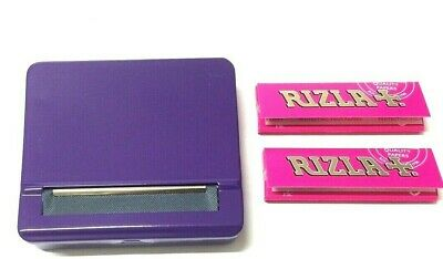 PURPLE AUTOMATIC ROLLING MACHINE METAL CIGARETTE TIN with 2 x PINK RIZLA PAPER