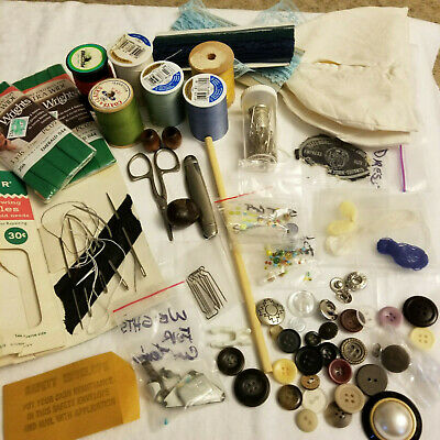 Sewing Crafts Junk Drawer Lot Vintage to Current Items Misc Stuff Shoulder Pads