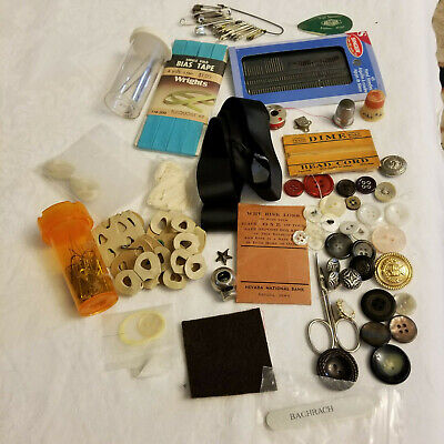 Sewing Crafts Junk Drawer Lot Vintage to Current Items Misc Stuff Bead Cord