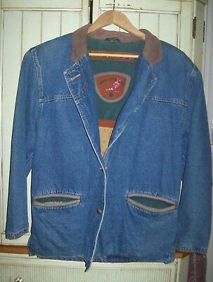 Outback Red Casual Leather Games Ducks Hunting Flannel Lined Denim Jacket XS