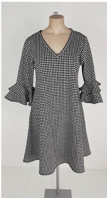 405e07d446 New Black Grey Dogtooth Check Bell Gemma Dress PLUS Size 16 Look Summer Be  Curve