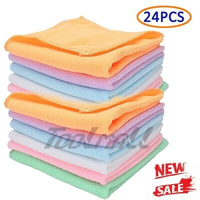 24PC Pack Microfiber Cleaning Cloth Towel No-Scratch Rag Car Polishing Detailing