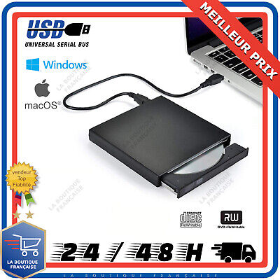 Lecteur Graveur CD DVD Externe Portable RW ROM USB C 2.0 PC Windows Mac Linux OS