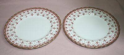 "Spode Plates  Lot Of 2 - 9 1/4"" Fleur De Lys Red Y7481-F Fine Bone China-England"