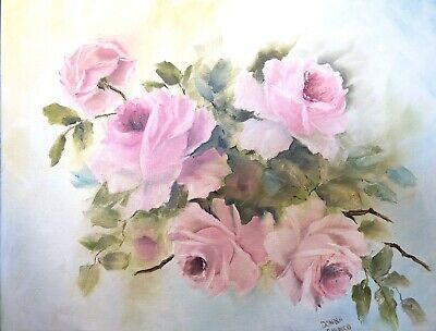 Handpainted Shabby Chic Victorian Vintage Cabbage Pink Roses Oil 16 X 20 Canvas