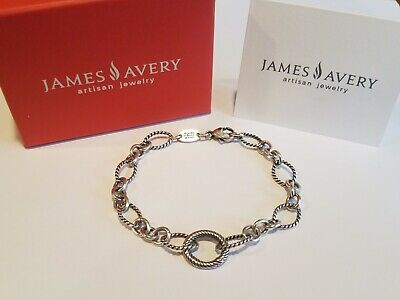 8c916bf5b James Avery Retired Oval Twist Changeable Charm Bracelet With Box, 8 inches