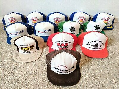 88bb8438337fae Lot of 13 Vtg Trucker 5-Panel Snapback Hat Cap Mesh Construction Trucking  Steel