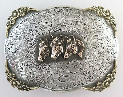Awesome XL Wage Sterling Silver Relief Horses 105 g Ornate Western Belt Buckle