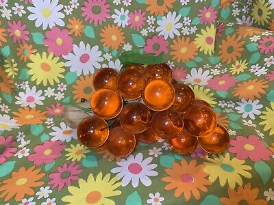 Vintage Lucite Acrylic Orange Grape Cluster on Driftwood Retro Mid Century 60s