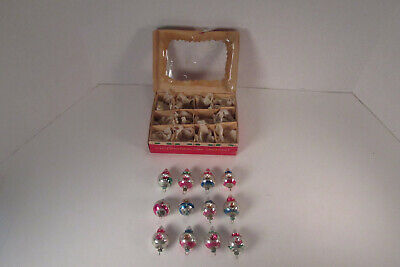 Christmas Ornament Tops.12 Tiny Vintage Mercury Glass Christmas Ornaments Double Indented Tops Japan Box