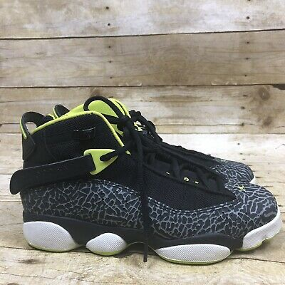 2013 Nike Air Jordan 6 Ring Black Green Venom Youth Boys Size 6Y Sneakers Shoes