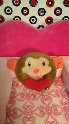 SPARK CREATE IMAGINE MONKEY STUFFED PLUSH BABY TOY RING CHIME RATTLE lovey  RED