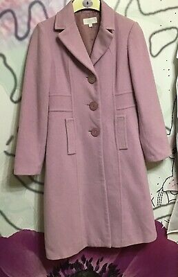 Marks And Spencers Soft Pink Wool And Cashmere Mix Coat Size 6 Petite