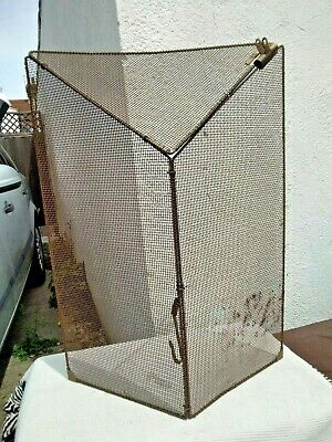 Vintage Foldable Fire Guard / Screen ~ Brassed Frame & Mesh & Bulldog Clip