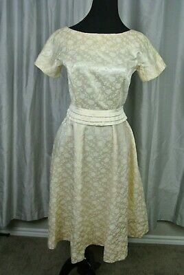 6147ee8687bf Vintage GAY GIBSON 1950s Cocktail Tea Party Dress Small Ivory Jacquard  Floral
