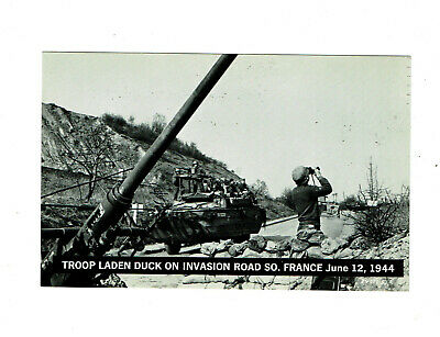 Troop Laden Duck, Invasion Road South. France 1944 Photo PC