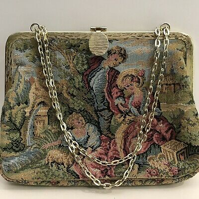 Vintage Tapestry Purse Handbag Stage Play Prop Storefront Victorian Photo Shoot