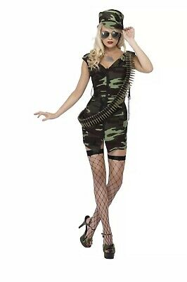 Army Girl Costume Womens Ladies Combat Soldier Uniform Sexy Fancy Dress SIZE: M