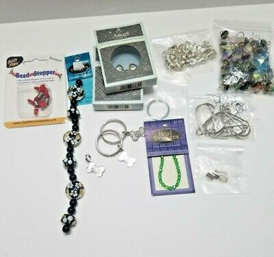 Crafting Beading Jewelry Making Supply Lot Supplies Beads Findings Split Rings