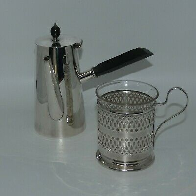 unusual Retro Vintage Art Deco Silver plated Angular Chocolate Pot and cup