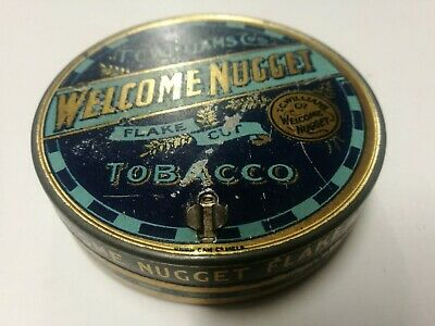 Welcome Nugget Round Tobacco Tin With Cutter, T.C. Williams Melb Aust. B.A.T