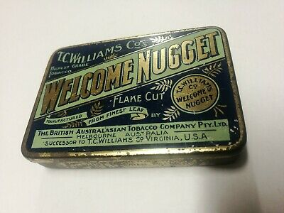 Welcome Nugget Tobacco Tin,2oz .T.C. Williams B.A.T. Melbourne Aust