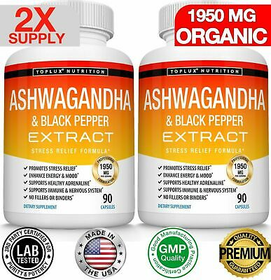 Ashwagandha Capsules 1300 MG With Extract Black Pepper Root Powder