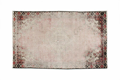 Unique Distressed Hand Knotted Vintage Antique Oriental Wool overdyed Area Rug