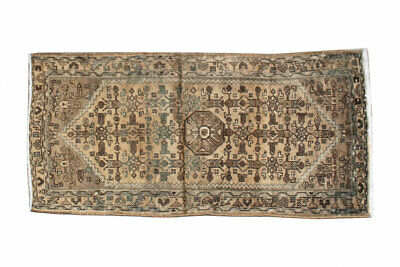 Unique Distressed Hand Knotted Vintage Antique Oriental Wool Geometric Area Rug