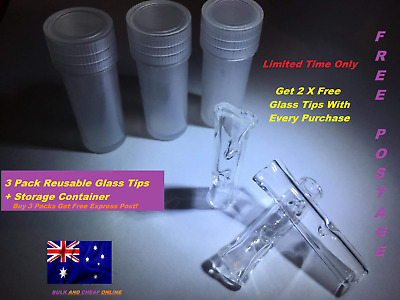 Eco Friendly Reusable Glass Tip Filter / Roach Molded + Container
