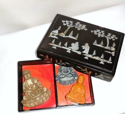 Chinese Seven Treasure Buddha Collection Antique MOP Chinese Lacquer Box