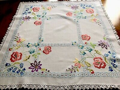 Vintage Hand Embroidered White Linen Table Cloth 34X35 INCHES
