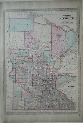 Original 1873 Johnson Map MINNESOTA Wagon Roads Indian Villages Railroads Forts