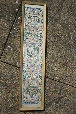 Antique Chinese Hand Silk Embroidery Picture - Wooden Framed & Glazed