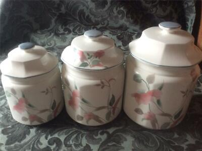 3 Lidded Mikasa Silk Flowers F3003  Fine Bone China Pottery Cannisters Canisters