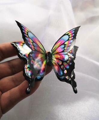 6cm Handcrafted Rainbow black iridescent resin butterfly brooch, pendant