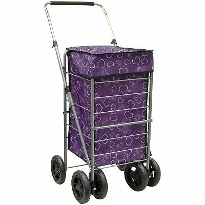 6 Wheels Cages Shopping Trolley Portable Foldable Grocery Market Laundry Cart
