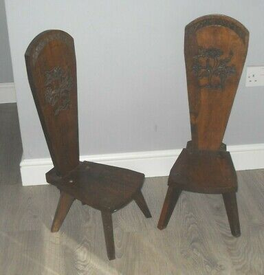 Vintage Matching Pair Of Lovely Carved Solid Oak Spinning Chairs