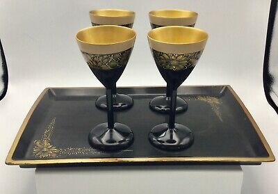 Vtg. Chinese Black Gold Lacquer Tray and 4 Cordial Cups