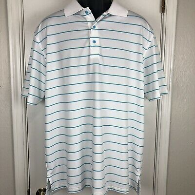 ad0f75d0 Peter Millar Summer Comfort Golf Polo Shirt Mens Large L Short Sleeve White  Blue