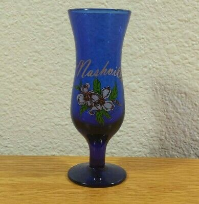 """NASHVILLE, Tennessee 4"""" Inch Tall Collectible Travel Souvenir Blue SHOT GLASS"""